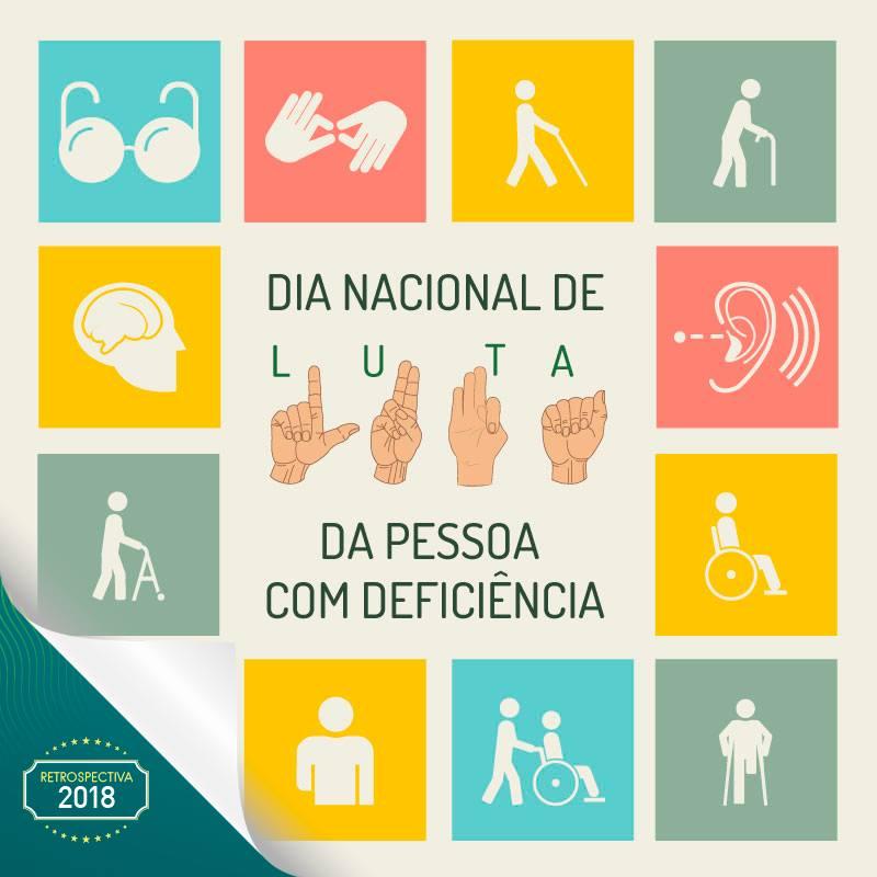Na imagem aparece uma moldura formada por diversos quadrados, nos quais estão representadas diversas pessoas com deficiência, em desenho. Ao centro o texto: '' Dia Nacional de Luta da Pessoa com Deficiência'', com a palavra ''Luta'' representada também em libras.