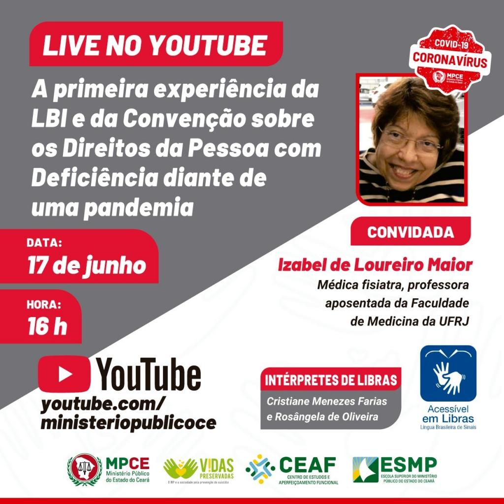 """Live """"A primeira experiência da LBI e da Convenção sobre Direitos da Pessoa com Deficiência diante de uma pandemia"""""""