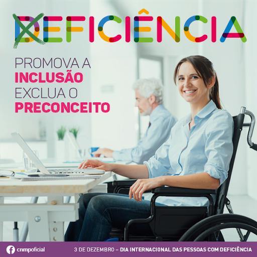 #PraCegoVer:A imagem mostra uma cadeirante trabalhando em escritório. No título da imagem a palavra deficiência com um ''x'' em cima da letra ''D''. No texto: ''Promova a inclusão, exclua o preconceito'' ''3 de dezembro: Dia Internacional das Pessoas com Deficiência''.