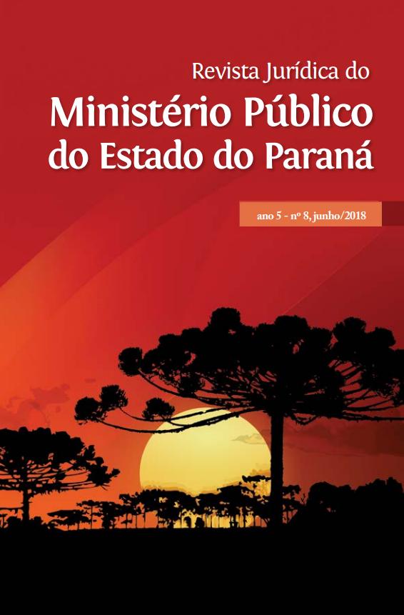#PraCegoVer: A imagem mostra a capa da Revista Jurídica do Ministério do Estado do Paraná, ano 5, nº9 dezembro 2018, composta por araucárias sombreadas, e sol poente em fundo vermelho.